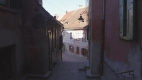 European narrow streets. Walking on the old town. Walking down narrow street. stock video footage