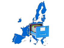 European national database concept, 3D rendering. Isolated on white background Stock Photo