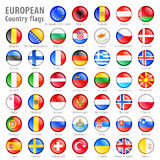 European National Flag Buttons Set. Hi detail  shiny buttons with all European flags. Every button is  on its own layer Stock Photography