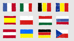 European national flags icon grunge set Royalty Free Stock Photo