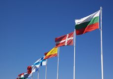 European national flags in row Stock Photography