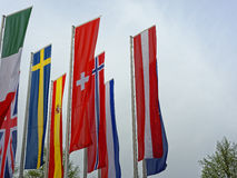 European national flags waving in wind Royalty Free Stock Photo