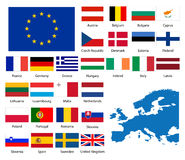 European nations. Detailed flags and map of European nations. EPS file available Stock Images