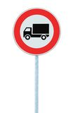European No Goods Vehicles Warning Sign Isolated Stock Images