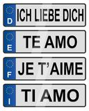 European number love plates Stock Images