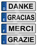 European number plates. Four European union number plates spelling thank you Royalty Free Stock Photography