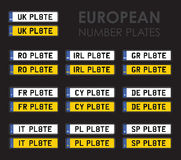 European number plates Royalty Free Stock Images