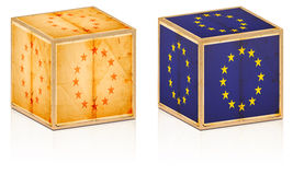 European old boxes. Isolated on white stock photo