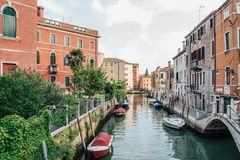 European old buildings with canal in Venice, Italy Royalty Free Stock Photos