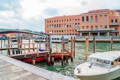 European old buildings with canal in Venice, Italy stock image