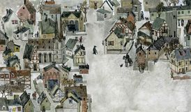 European old town. Color cartoon hand drawn European old town from above Stock Photos