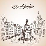 European old town Stockholm - Sweden. Oldest Square in Stockholm. Stock vector scene street illustration hand drawn ink line sketch -  european old town Stock Photos