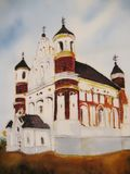 European olf building church painting. Royalty Free Stock Photography