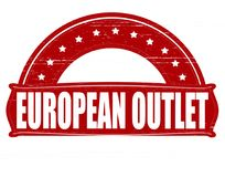European outlet. Stamp with text European outlet inside,  illustration Stock Image