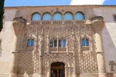 European palace facade Jabalquinto Baeza. Facade of the palace of jabalquinto in the Spanish Mediebal city of Baeza. Tourist monument built by the architect Stock Photos