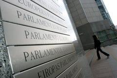 European Parliament. A tourist is entering the European Parliamant building in Bruxelles, Belgium Royalty Free Stock Photo