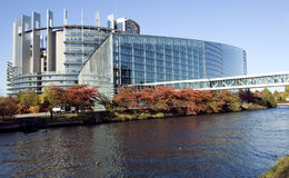 European Parliament. The European Parliament in Strasbourg from across the river Stock Image