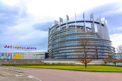 European parliament. Autumn View of the European parliament in Strasbourg, France under a cloudy day Royalty Free Stock Photography