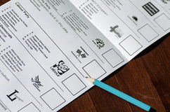 European Parliament Ballot Paper Stock Photography