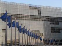 European parliament. Brussels. Belgium. Blue flags. The european parliament Stock Photos