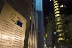 European parliament brussels belgium at night language sign. The european parliament brussels belgium at night language sign royalty free stock photos