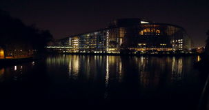 European Parliament building across Marne-Rhine  Canal in Strasbourg stock video footage