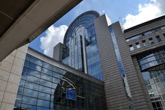 European Parliament building in Brussels, Belgium. Against a blue sky Royalty Free Stock Photography