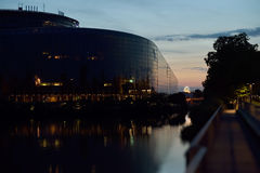 European Parliament building reflected in Ill rive Royalty Free Stock Photography