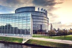 European Parliament building. Strasbourg, France. European Parliament building at sunset. Strasbourg, France Stock Image