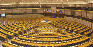 European Parliament chamber. The European Parliament hemicycle (debating chamber) in Brussels, Belgium Royalty Free Stock Photo
