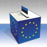 Estonia, European parliament elections, ballot box and flag. European parliament elections voting box, Estonia,  flag and national symbols, vector illustration stock illustration