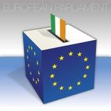 Ireland, European parliament elections, ballot box and flag. European parliament elections voting box, Ireland, flag and national symbols, vector illustration royalty free illustration