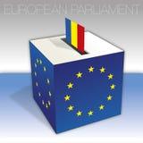 Romania, European parliament elections, ballot box and flag. European parliament elections voting box, Romania, flag and national symbols, vector illustration royalty free illustration
