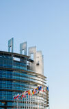 European Parliament facade with all EU European Union Country fl Royalty Free Stock Photos