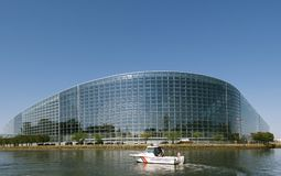 European Parliament facade building with Police Gendarmerie boat Stock Photography
