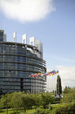 European Parliament with flags Stock Image