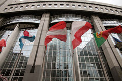 European Parliament flags. In Brussels, Belgium stock photos