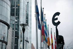 European Parliament. With flags and euro sign in Brussels, Belgium Royalty Free Stock Images