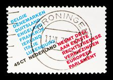 European parliament: List of participating countries. MOSCOW, RUSSIA - MAY 13, 2018: A stamp printed in Netherlands shows European parliament: List of royalty free stock photography