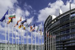 The European Parliament in Strasbourg. The European Parliament, Flags of the adherent Countries. France, Strasbourg September 2017 Royalty Free Stock Photos
