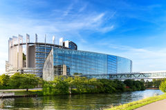 European Parliament in Strasbourg. STRASBOURG/FRANCE – AUGUST 01: The building of European Parliament on August 01, 2016 in Strasbourg Stock Photos