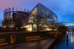The European Parliament Strasbourg. In night Royalty Free Stock Images