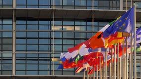European parliament in Strasbourg time-lapse fast motion. STRASBOURG, FRANCE - CIRCA 2018: Time-lapse fastmotion of European Parliament headquarter facade stock video