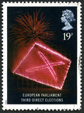 European Parliament Third Direct Elections. GREAT BRITAIN - CIRCA 1989: A used postage stamp from the UK, commemorating the European Parliament Third Direct Stock Images