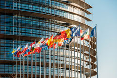 European Parliamentfrontal flags Royalty Free Stock Image