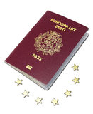 European passport laying on the euro stars Stock Photo