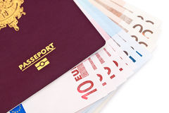 European passport and money Royalty Free Stock Images