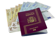 European passport and money Royalty Free Stock Image