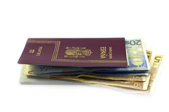 European passport and money Stock Image