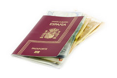 European passport and money Stock Images